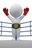 3d small people - boxer the champion. 3d small people - boxer with a belt of the champion. 3d image. Isolated white background Royalty Free Stock Images