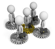 3d small people - business team. 3d small person - businessmen standing on gears. 3d image. White background Stock Photos