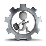 3d small people - businessman in the gear wheel. 3d small person - businessman with briefcase running in gear wheel. 3d image. White background Royalty Free Stock Image
