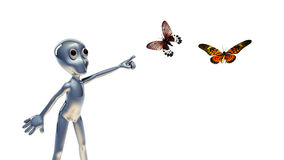3d small people  and butterfly Royalty Free Stock Images