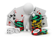 3d small people - casino. 3d small people with counters for a roulette, playing cards and bones. 3d image. Isolated white background Royalty Free Stock Image