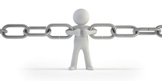 3d small people - chain link Stock Photos