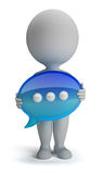 3d small people - chat icon. 3d small person with his hands in the chat icon. 3d image. White background Stock Photos
