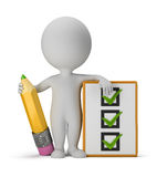 3d small people with clipboard and pencil Stock Image