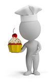 3d small people - confectioner with cupcake. 3d small person with pastry cake in his hand. 3d image. White background Royalty Free Stock Images