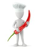 3d small people cook - chili. Royalty Free Stock Image