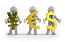 3d small people - currency Stock Photos