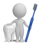 3d small people - dentist. 3d small person with a tooth and toothbrush. 3d image. White background Stock Image