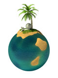 3d small people - desert island Royalty Free Stock Photography