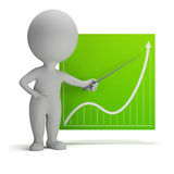 3d small people - diagram. 3d small person with a pointer in his hand and chart. 3d image. White background Stock Images
