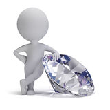 3d small people - diamond. 3d small person standing next to a big diamond. 3d image. White background Royalty Free Stock Photos