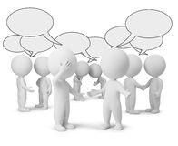 3d small people - discussion. 3d small people with empty chat bubbles. 3d image. Isolated white background Stock Photo