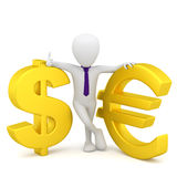 3d small people - dollar sign and euro. Stock Photography