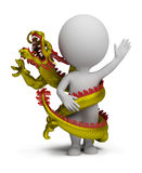 3d small people - dragon twists around Stock Photos
