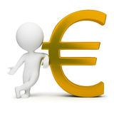3d small people - euro sign. 3d small people with a gold euro sign. 3d image. Isolated white background Royalty Free Stock Photos