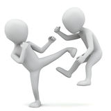 3d small people fighting. 3D image. On a white background Royalty Free Stock Images