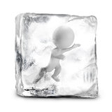 3d small people - frozen. 3d small person frozen in ice. 3d image. White background Stock Photos