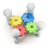 3d small people - gears turned. 3d small people twist colorful gears. 3d image. White background Royalty Free Stock Images