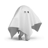 3d small people - ghost costume Royalty Free Stock Photo