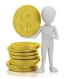 3d small people - gold coins. Royalty Free Stock Photography