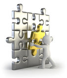 3d small people - golden puzzle insert Stock Photos