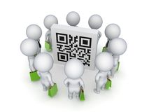 3d small people with green bags around QR code. Isolated on white background Royalty Free Stock Photography