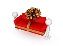 3d small people, green sofa with golden bow. Royalty Free Stock Photo