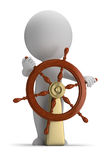 3d small people - helm. 3d small person at the helm. 3d image. White background Stock Image