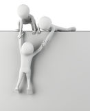 3d small people help to get up. 3d image. On a white background Royalty Free Stock Photography