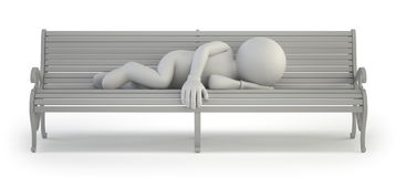 3d small people - homeless Stock Photo