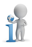 3d small people - info. 3d small person next to the icon information in his hand globe. 3d image. White background Stock Photo