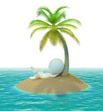 3d small people - island. 3d small people on has a rest a desert island. 3d image. Isolated white background Royalty Free Stock Photos