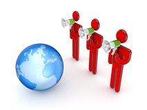 3d small people with a loudspeakers and Earth. Royalty Free Stock Photography