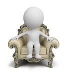 3d small people - luxurious armchair. 3d small person sitting in a luxurious armchair. 3d image. White background Royalty Free Stock Photo