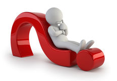 3d small people - lying on a question mark. Little man lying on a question mark Stock Photo