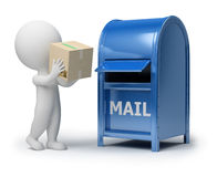 3d small people - mailing a package royalty free illustration