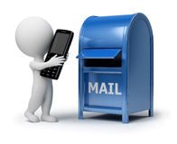 3d small people - mailing a phone. 3d small people. 3d image. Isolated white background Stock Photography
