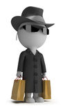 3d small people - mystery shopper. 3d small person - mystery shopper in a black coat, sunglasses, hat, and with packages. 3d image. White background Stock Photo