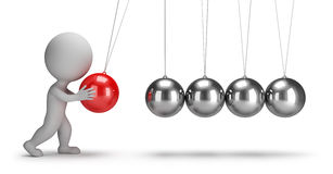 3d Small People - Newtons Cradle Royalty Free Stock Photo