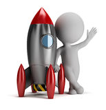 3d small people next to rocket. 3d small person next to rocket. 3d image. White background vector illustration