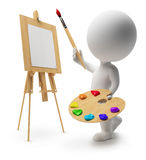 3d small people - painter. 3d drawing small people with an easel, paints and a brush. 3d image. Isolated white background Royalty Free Stock Photo