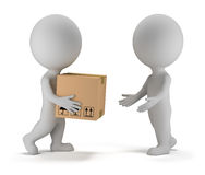 3d small people - parcel delivery. 3d small people deliver a parcel to another person. 3d image. White background royalty free illustration