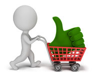 3d small people - positive symbol in the cart Royalty Free Stock Photos