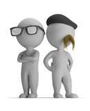 3d small people - professionals. 3d small person - two professionals standing back to back. 3d image. White background Royalty Free Illustration