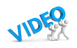 3d small people raise word video Royalty Free Stock Photo