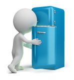 3d small people - retro fridge Stock Image