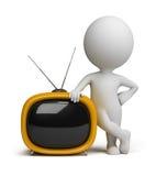 3d small people - retro tv Stock Photo