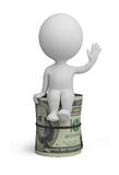 3d small people - roll dollars Royalty Free Stock Photography