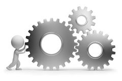 3d small people - rolls gears. 3d small people rolls gears. 3d image. Isolated white background. Clipping path included Stock Photography