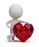3d small people - ruby heart. 3d small person next to ruby heart. 3d image. White background Stock Photo